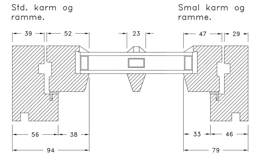Vikeså Vindu - Standard og smal karm og ramme