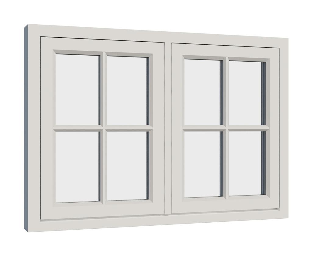 Vikeså vindu - Antikvariske vindu med kittfals - V200 serien / V208 utside